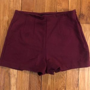 Forever 21 High Waisted Maroon Mini Party Shorts